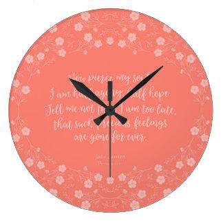 Reloj Redondo Grande Persuasión floral Jane Austen de la cita de la