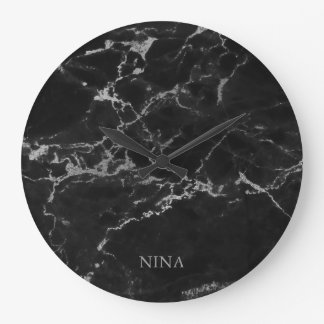 Reloj Redondo Grande Piedra de mármol de los gris plateados y del negro