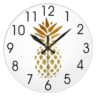 Reloj Redondo Grande Piña de oro, fruta en oro