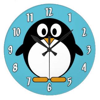 Reloj Redondo Grande Pingüino lindo del dibujo animado