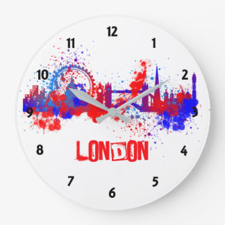 Reloj Redondo Grande Pintura artística azul blanca roja Splat del