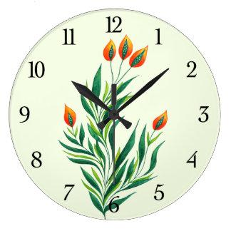 Reloj Redondo Grande Planta verde de la primavera con los brotes
