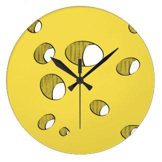 Reloj Redondo Grande Queso con los agujeros