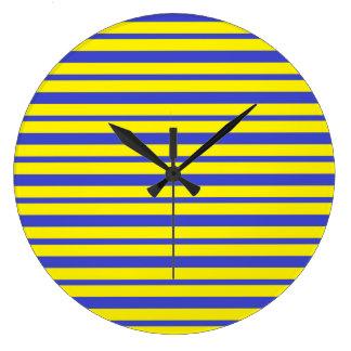 Reloj Redondo Grande Rayas azules y amarillas gruesas y finas