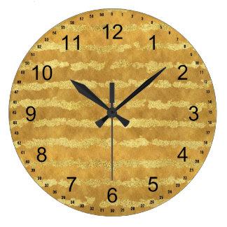 Reloj Redondo Grande Rayas glamorosas del oro