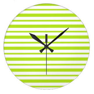 Reloj Redondo Grande Rayas gruesas y finas de la verde lima y del