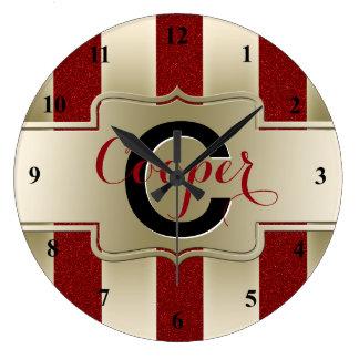 Reloj Redondo Grande Rayas rojas cones monograma del oro del brillo del