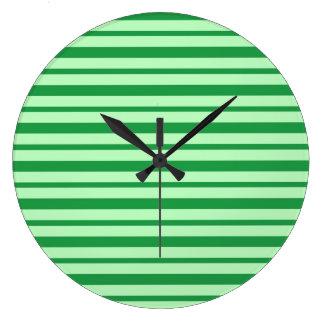Reloj Redondo Grande Rayas verdes gruesas y finas