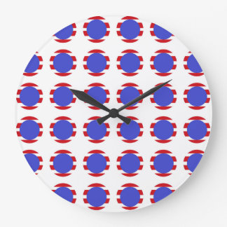 Reloj Redondo Grande Rayas y lunares patrióticos