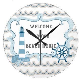 Reloj Redondo Grande Recepción a nuestro azul y gris de la casa de