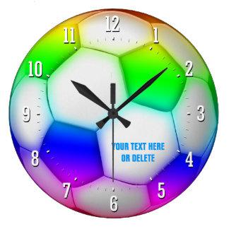 Reloj Redondo Grande Regalo colorido femenino del fútbol del fútbol