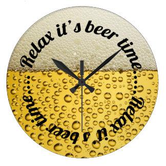 Reloj Redondo Grande Relax es tiempo de la cerveza