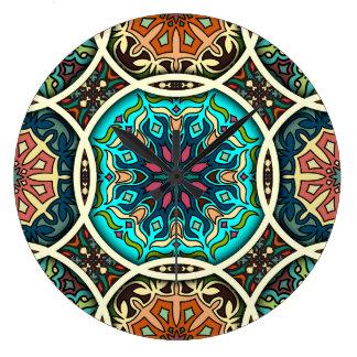 Reloj Redondo Grande Remiendo del vintage con los elementos florales de
