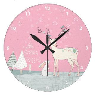 Reloj Redondo Grande Reno y conejito del invierno en nieve que cae