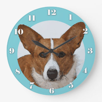 Reloj Redondo Grande Retrato del Corgi Galés de la rebeca de la