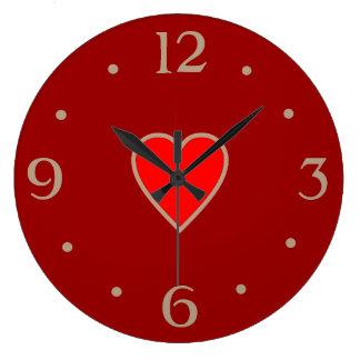 Reloj Redondo Grande Rojo con el regalo rojo claro del día de San