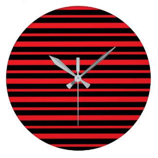 Reloj Redondo Grande Rojo grueso y fino y rayas negras