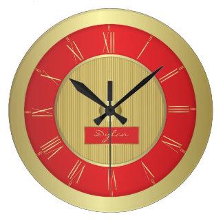 Reloj Redondo Grande Rojo y oro
