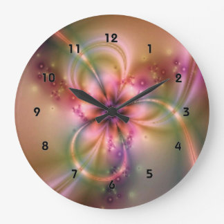 Reloj Redondo Grande Rosa y flor del oro