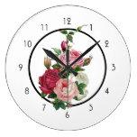 Reloj Redondo Grande Rosas rosados y blancos del vintage