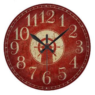 Reloj Redondo Grande Rueda roja náutica decorativa única de la nave del