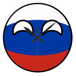 Reloj Redondo Grande Rusia Geeky que tiende divertida Countryball