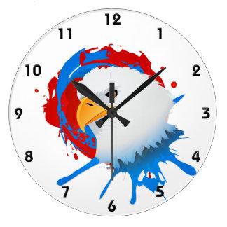 Reloj Redondo Grande Salpicón blanco de Eagle y azul rojo calvo