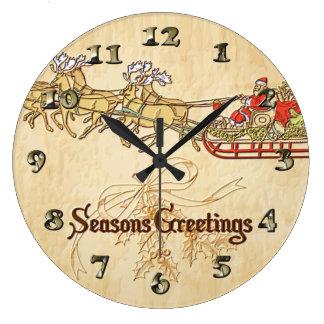 Reloj Redondo Grande Saludos de las estaciones del trineo y del reno de
