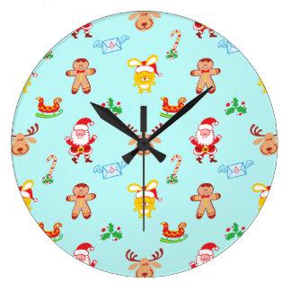 Reloj Redondo Grande Santa, el reno, el conejito y la galleta sirven el