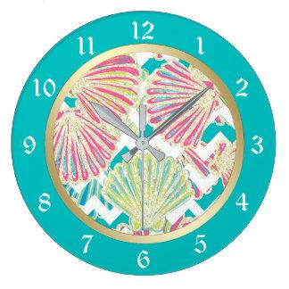 Reloj Redondo Grande Seashells elegantes Chevron