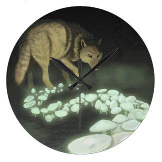 Reloj Redondo Grande Setas de la muerte del lobo que se arrastran