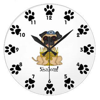 Reloj Redondo Grande ¡Shalom! - Perro lindo del barro amasado con Menor