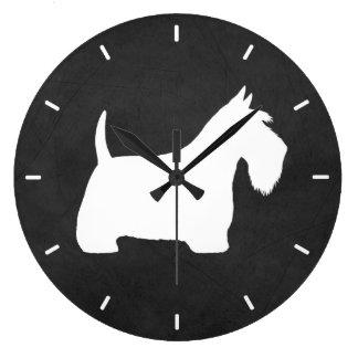 Reloj Redondo Grande Silueta blanca de Terrier del escocés
