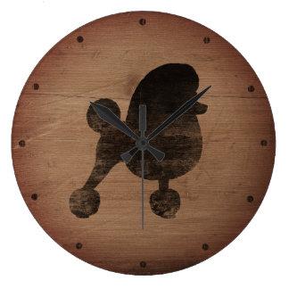 Reloj Redondo Grande Silueta de lujo del caniche de juguete rústica