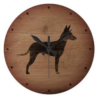 Reloj Redondo Grande Silueta de Manchester Terrier rústica