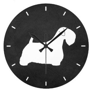 Reloj Redondo Grande Silueta de Sealyham Terrier
