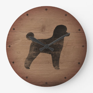 Reloj Redondo Grande Silueta del caniche de juguete rústica