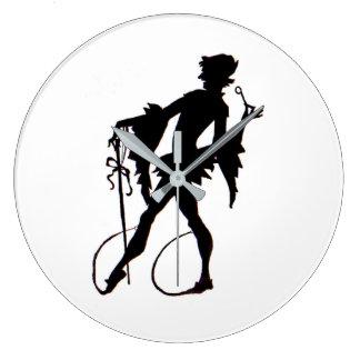 Reloj Redondo Grande silueta del mago de los años 20