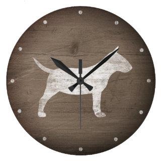 Reloj Redondo Grande Silueta miniatura de bull terrier rústica