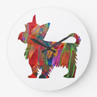 Reloj Redondo Grande Silueta pintada coloreada multi del perro de