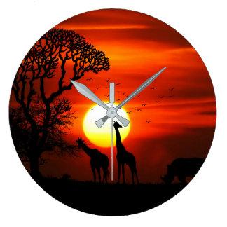 Reloj Redondo Grande Siluetas africanas del animal de la puesta del sol
