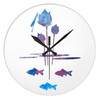 Reloj Redondo Grande Siluetas de la charca