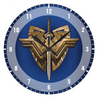 Reloj Redondo Grande Símbolo de la Mujer Maravilla con la espada de la