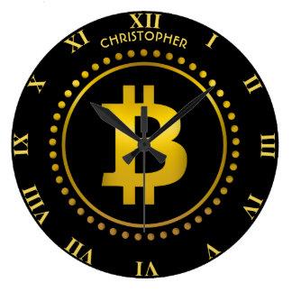 Reloj Redondo Grande Símbolo de oro Cryptocurrency HODL de Bitcoin