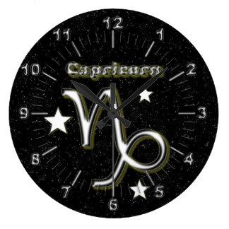 Reloj Redondo Grande Símbolo del Capricornio