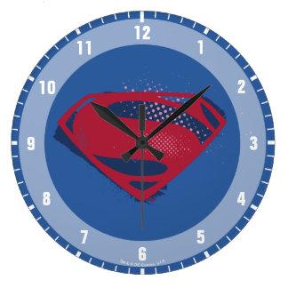 Reloj Redondo Grande Símbolo del superhombre del cepillo y del tono