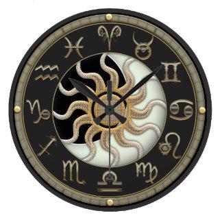 Reloj Redondo Grande Símbolos de la astrología de Sun y de la luna