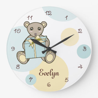 Reloj Redondo Grande Sitio en colores pastel de los niños del cuarto de