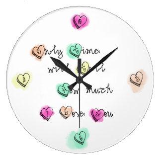 Reloj Redondo Grande Solamente el tiempo dirá cuánto te amo