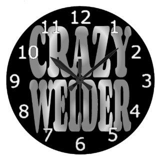 Reloj Redondo Grande Soldador loco en plata